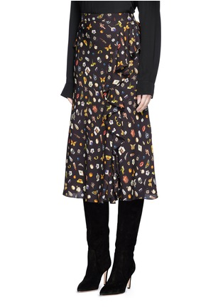 Front View - Click To Enlarge - Alexander McQueen - Obsession print asymmetric ruffle crepe skirt
