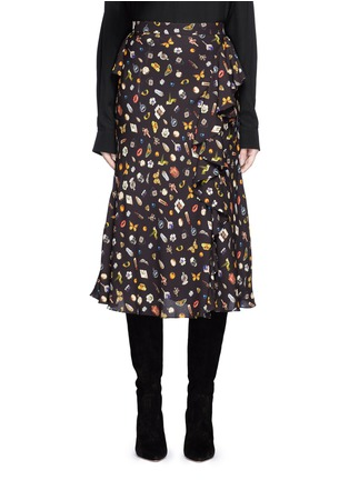 Main View - Click To Enlarge - Alexander McQueen - Obsession print asymmetric ruffle crepe skirt