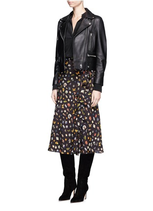 Figure View - Click To Enlarge - Alexander McQueen - Obsession print asymmetric ruffle crepe skirt