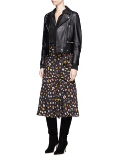 Alexander McQueen Obsession print asymmetric ruffle crepe skirt