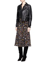 Obsession print asymmetric ruffle crepe skirt