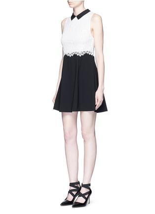alice + olivia-'Desra' floral lace combo collar dress