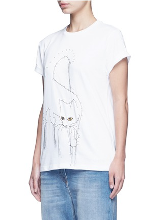 Front View - Click To Enlarge - Stella McCartney - Dotted cat print cotton T-shirt
