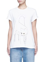 Dotted cat print cotton T-shirt