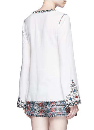 Back View - Click To Enlarge - Talitha - Diamond embroidered bell sleeve tassel tunic