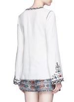 Diamond embroidered bell sleeve tassel tunic