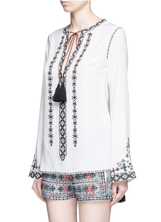 Front View - Click To Enlarge - Talitha - Diamond embroidered bell sleeve tassel tunic