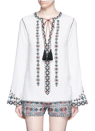 Main View - Click To Enlarge - Talitha - Diamond embroidered bell sleeve tassel tunic