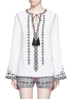 Talitha Diamond embroidered bell sleeve tassel tunic