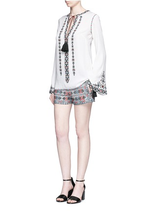 Figure View - Click To Enlarge - Talitha - Diamond embroidered bell sleeve tassel tunic