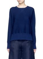 Wool-silk waffle knit sweater