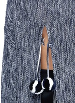 Drawstring pompom open back sweater