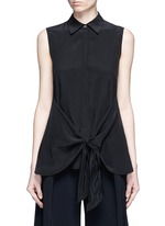 'Zallane' tie front sleeveless silk shirt