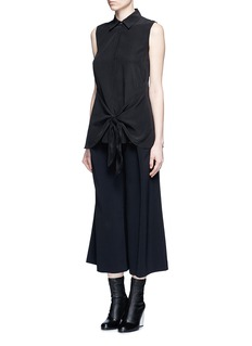 THEORY 'Zallane' tie front sleeveless silk shirt