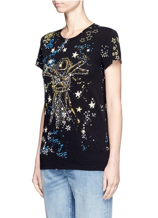 Front View - Click To Enlarge - Valentino - Astronaut cosmos print jersey T-shirt