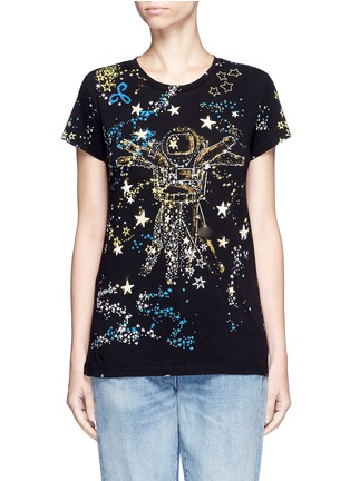 Main View - Click To Enlarge - Valentino - Astronaut cosmos print jersey T-shirt