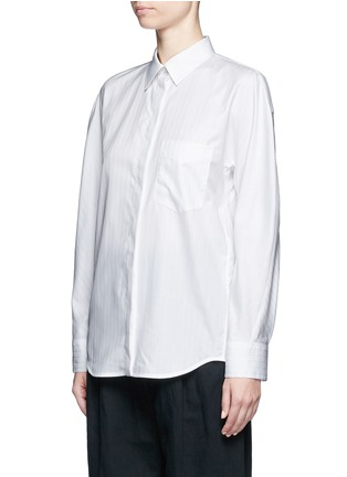 Front View - Click To Enlarge - Balenciaga - Logo coin pin pinstripe poplin shirt