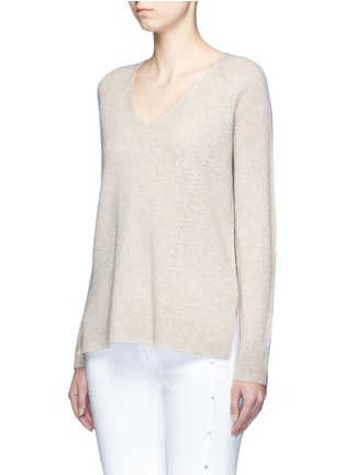 Front View - Click To Enlarge - Vince - V-neck wool-cashmere ribbed sweater