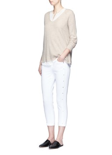 VINCEV-neck wool-cashmere ribbed sweater