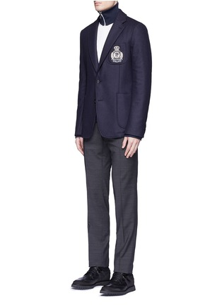 Figure View - Click To Enlarge - Alexander McQueen - Embroidered skull badge wool felt blazer