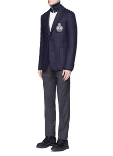 Alexander McQueen Embroidered skull badge wool felt blazer