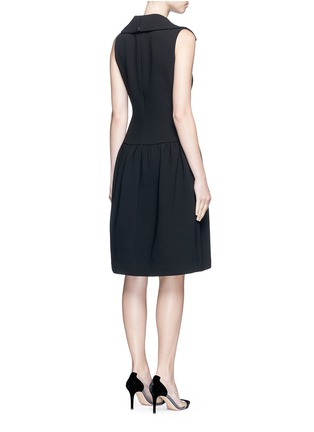Back View - Click To Enlarge - Co - Gathered flared collar crepe dress