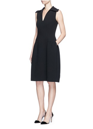 Figure View - Click To Enlarge - Co - Gathered flared collar crepe dress