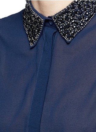 Detail View - Click To Enlarge - alice + olivia - 'Lorrie' embellished collar silk sleeveless shirt