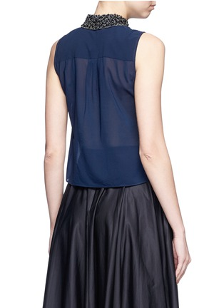 Back View - Click To Enlarge - alice + olivia - 'Lorrie' embellished collar silk sleeveless shirt