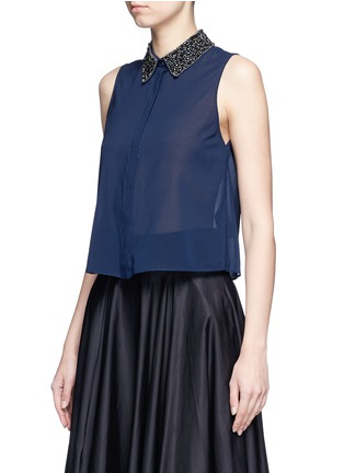 Front View - Click To Enlarge - alice + olivia - 'Lorrie' embellished collar silk sleeveless shirt