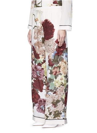 Front View - Click To Enlarge - Valentino - Floral print silk pyjama pants