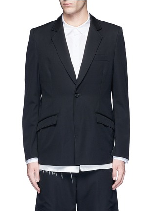 Main View - Click To Enlarge - Sulvam - Back slit raw edge lining wool blazer