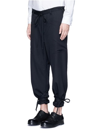 Sulvam - Relaxed fit drawstring waist and cuff wool pants