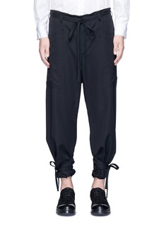 Sulvam Relaxed fit drawstring waist and cuff wool pants