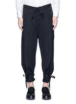 Relaxed fit drawstring waist and cuff wool pants