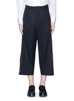 Contrast stitch raw edge cropped wool pants