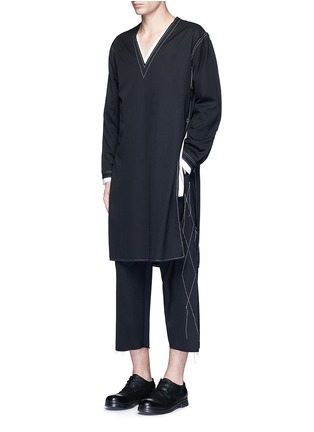 Figure View - Click To Enlarge - Sulvam - Contrast stitch raw edge cropped wool pants