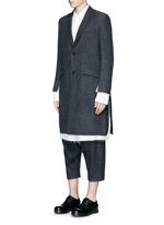 Side split raw edge lining wool coat