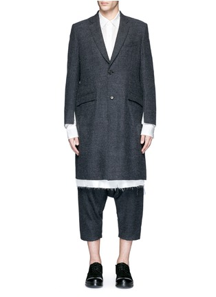 Main View - Click To Enlarge - Sulvam - Side split raw edge lining wool coat