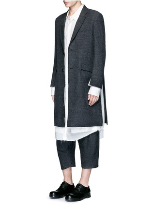 Figure View - Click To Enlarge - Sulvam - Side split raw edge lining wool coat