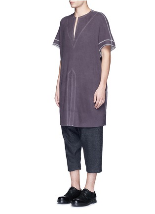 Front View - Click To Enlarge - Sulvam - Sleeveless cotton thermal top