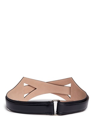 Back View - Click To Enlarge - Alaïa - Geometric cutout overlap leather belt