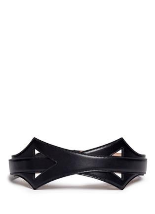 Alaïa-Geometric cutout overlap leather belt