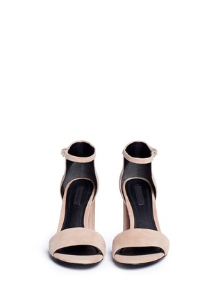 Front View - Click To Enlarge - Alexander Wang  - 'Abby' cutout heel ankle strap suede sandals