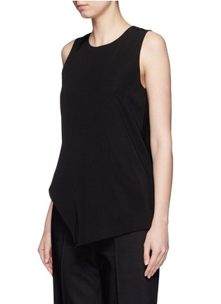 Front View - Click To Enlarge - Mo&Co. - Asymmetric hem crepe sleeveless top