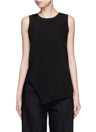 Main View - Click To Enlarge - Mo&Co. - Asymmetric hem crepe sleeveless top