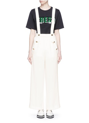Main View - Click To Enlarge - Mo&Co. - Wide leg overall pants