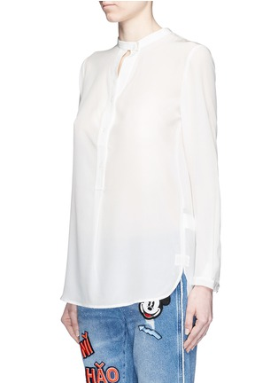 Front View - Click To Enlarge - Mo&Co. - Keyhole button silk georgette shirt