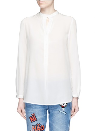 Main View - Click To Enlarge - Mo&Co. - Keyhole button silk georgette shirt