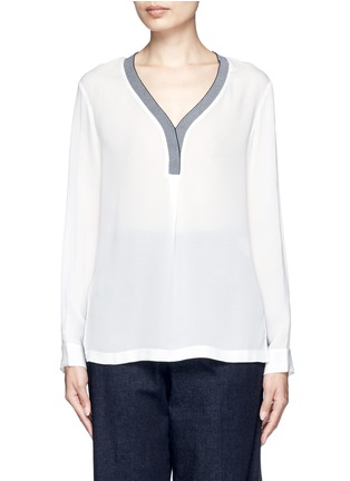 Detail View - Click To Enlarge - Mo&Co. - Contrast V-neck silk georgette blouse
